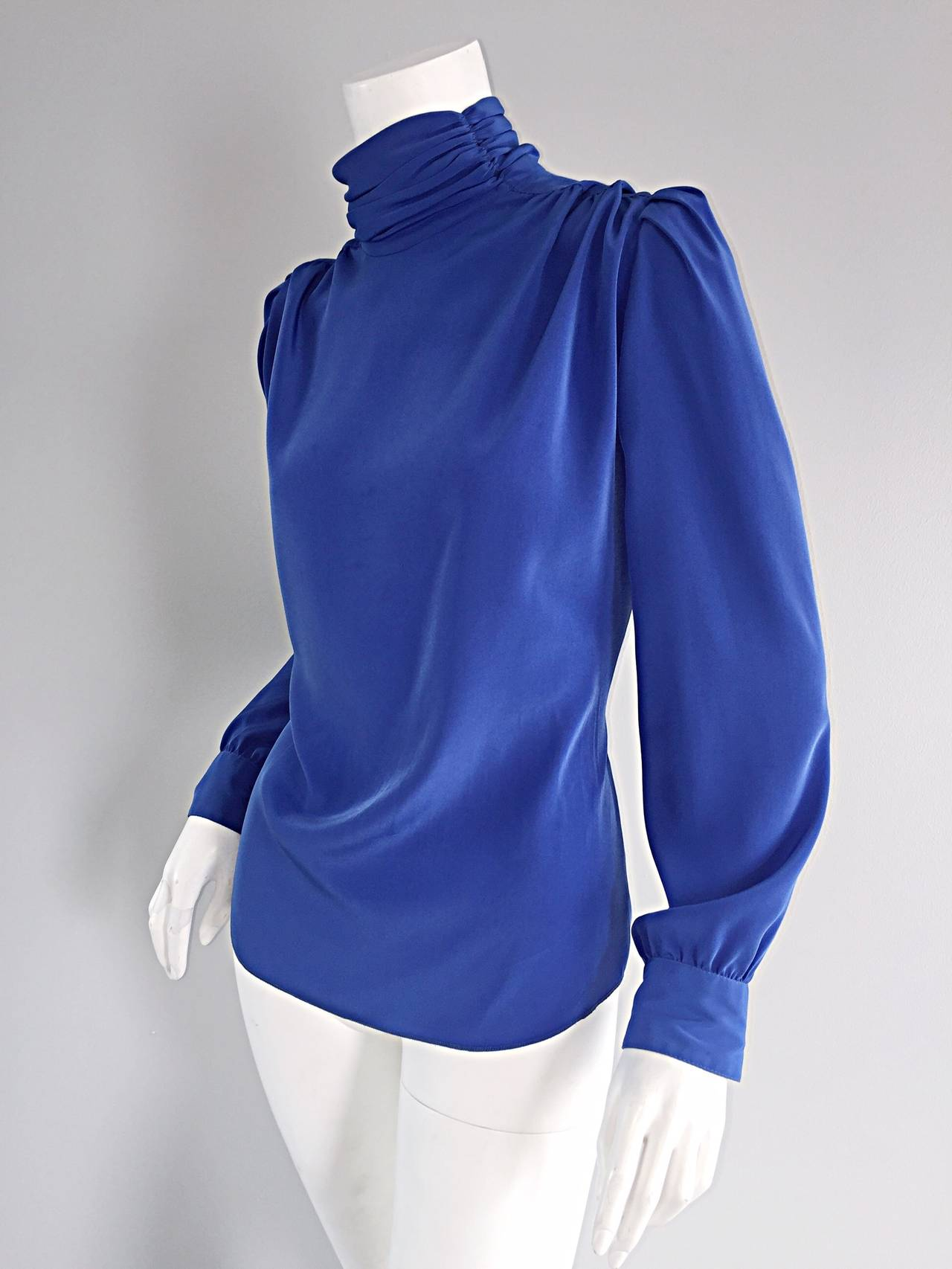 St. John Blue Silk Vintage Secretary Shirt Blouse w/ Puff Sleeves 3