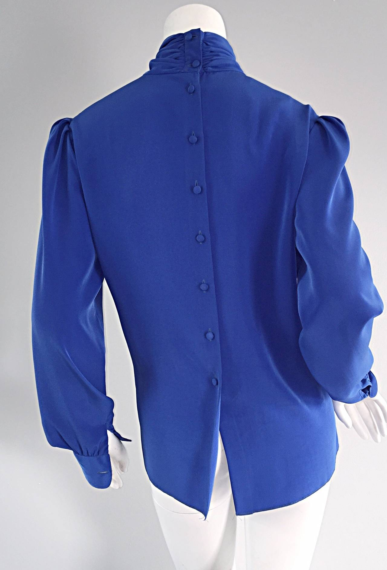 St. John Blue Silk Vintage Secretary Shirt Blouse w/ Puff Sleeves 4
