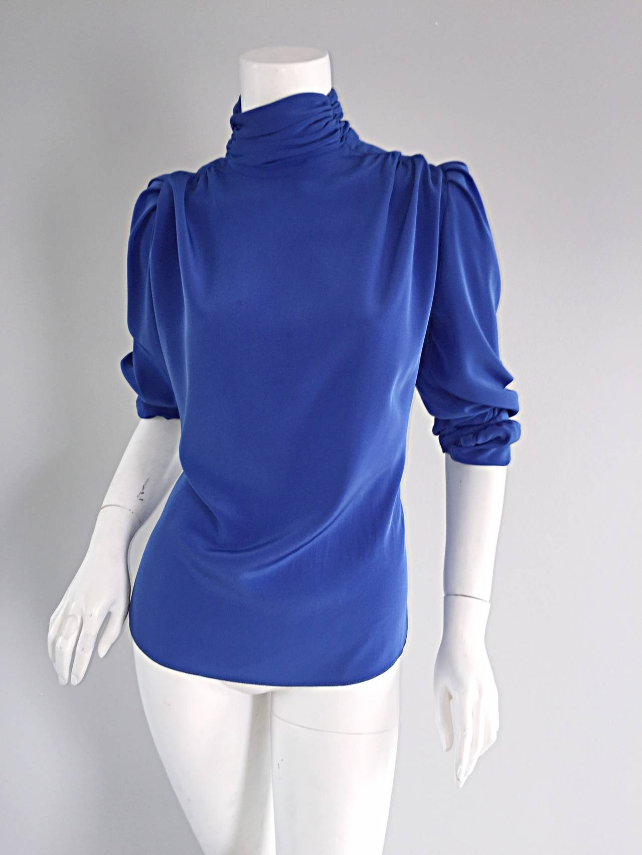 St. John Blue Silk Vintage Secretary Shirt Blouse w/ Puff Sleeves 5