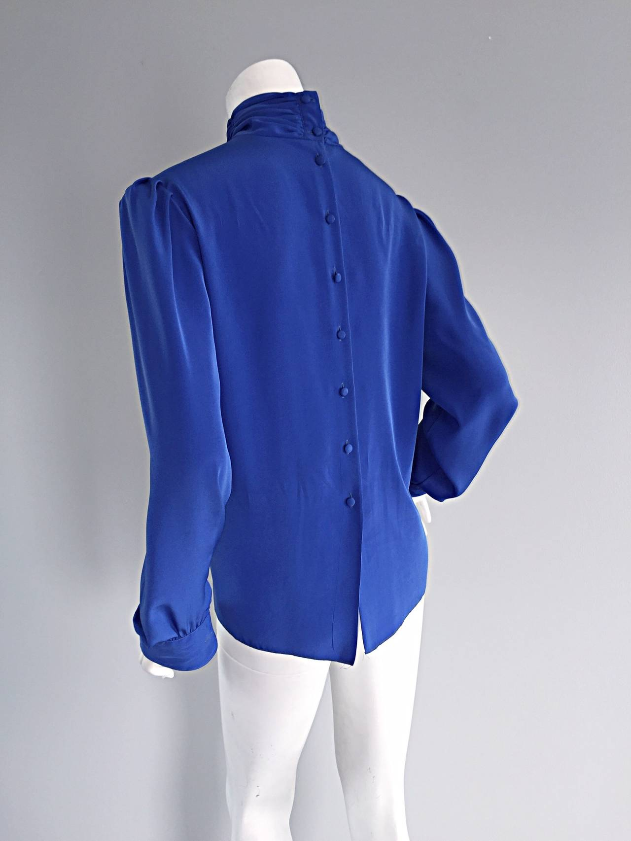 St. John Blue Silk Vintage Secretary Shirt Blouse w/ Puff Sleeves 7
