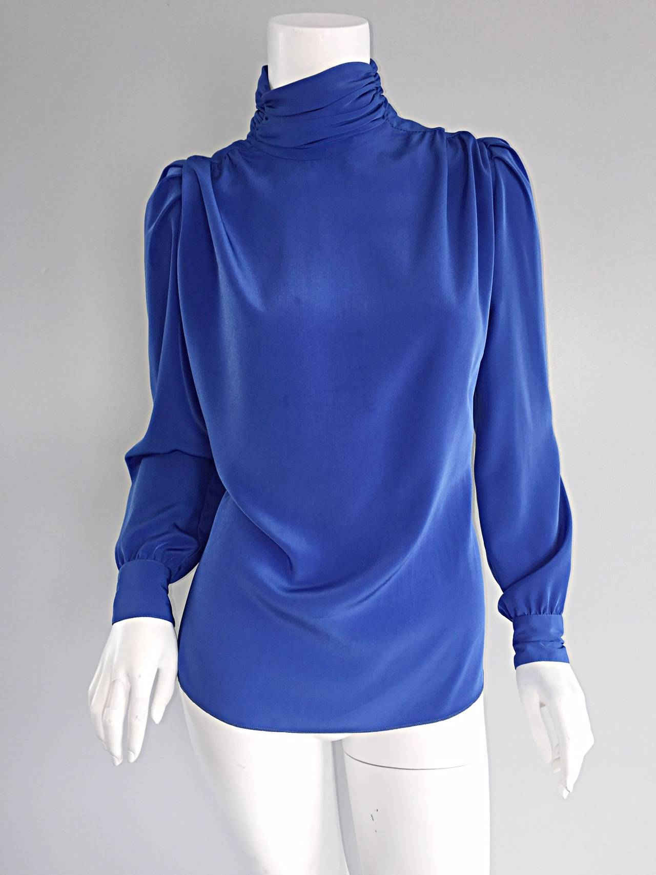 St. John Blue Silk Vintage Secretary Shirt Blouse w/ Puff Sleeves 8