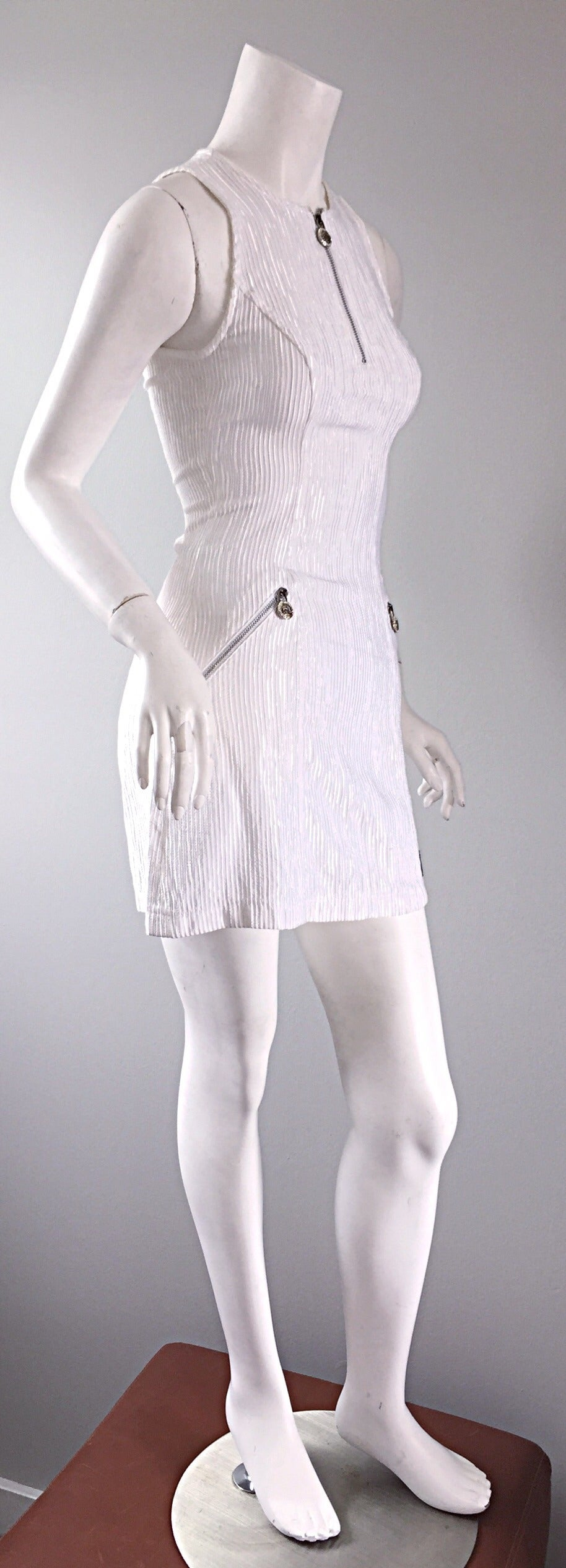 Vintage Gianni Versace White Ribbed BodyCon Scuba Dress Medusa + Rhinestones In Excellent Condition For Sale In San Francisco, CA
