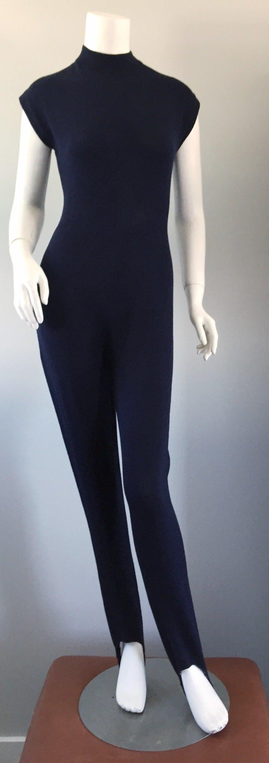 68e61c333f91 Vintage St. John by Marie Gray Navy Blue Santana Knit Jumpsuit w ...