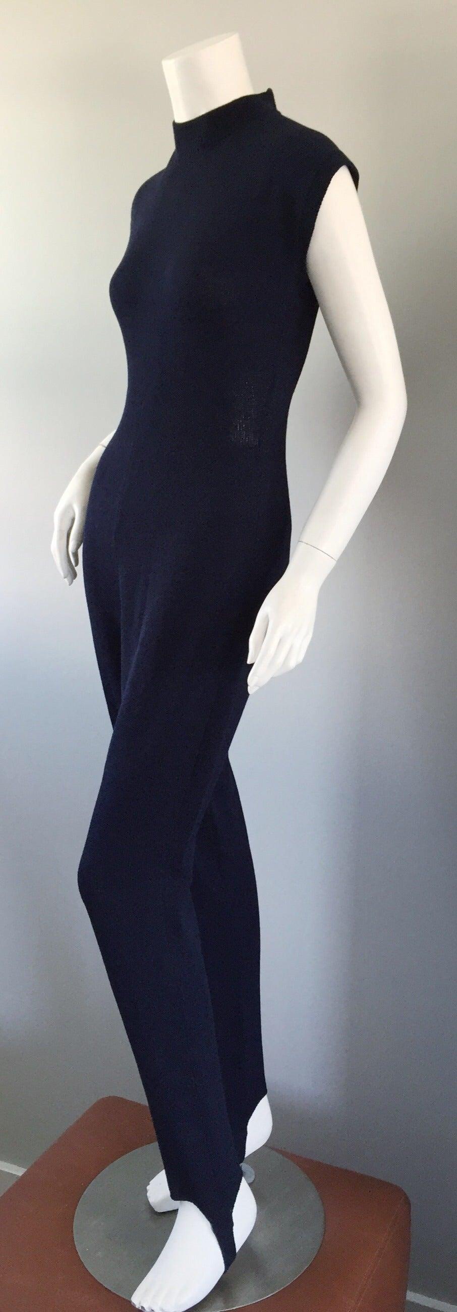 218eca927dbd Black Vintage St. John by Marie Gray Navy Blue Santana Knit Jumpsuit w   Stirrup