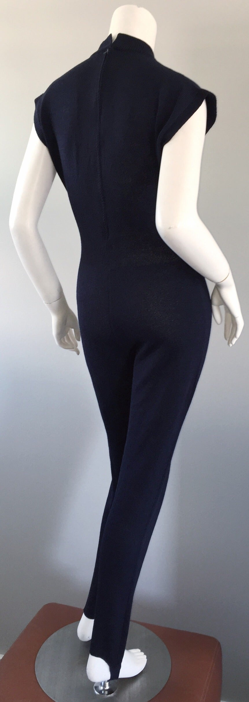 15c8148c0bd6 Vintage St. John by Marie Gray Navy Blue Santana Knit Jumpsuit w  Stirrup  Pants
