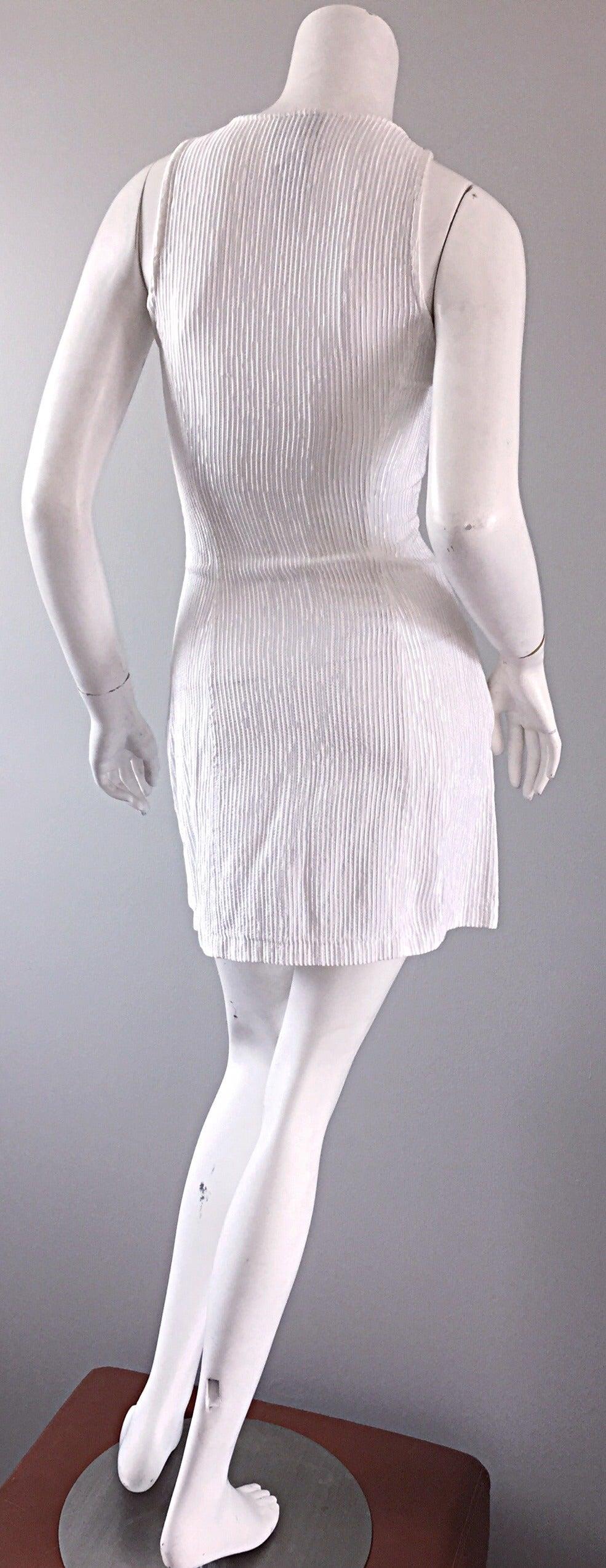 Vintage Gianni Versace White Ribbed BodyCon Scuba Dress Medusa + Rhinestones 6