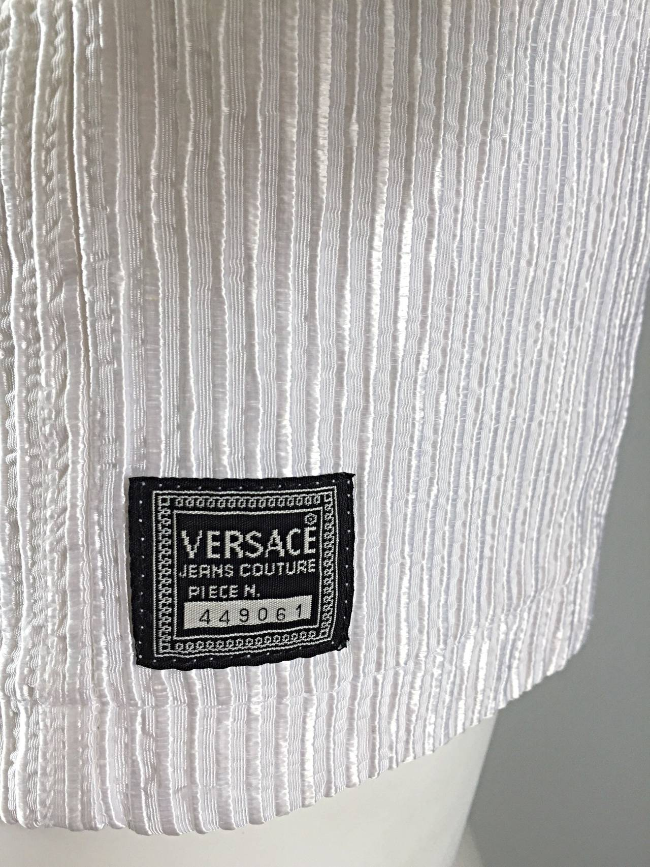 Vintage Gianni Versace White Ribbed BodyCon Scuba Dress Medusa + Rhinestones 8