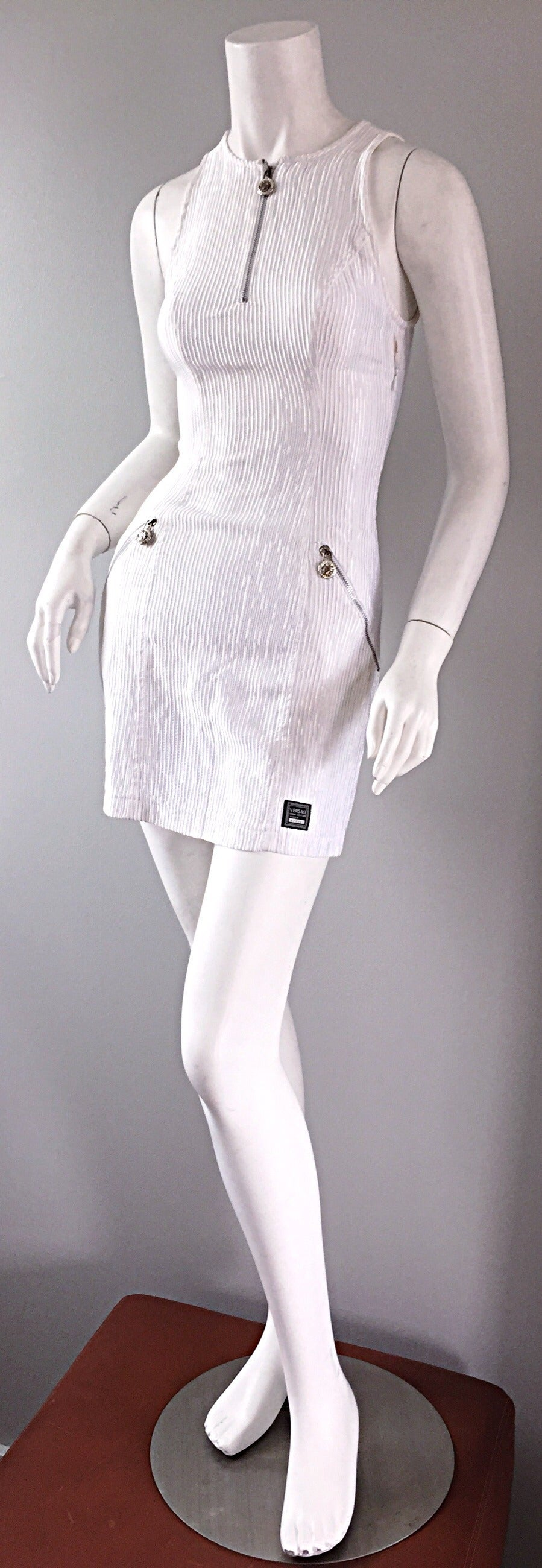 Gray Vintage Gianni Versace White Ribbed BodyCon Scuba Dress Medusa + Rhinestones For Sale