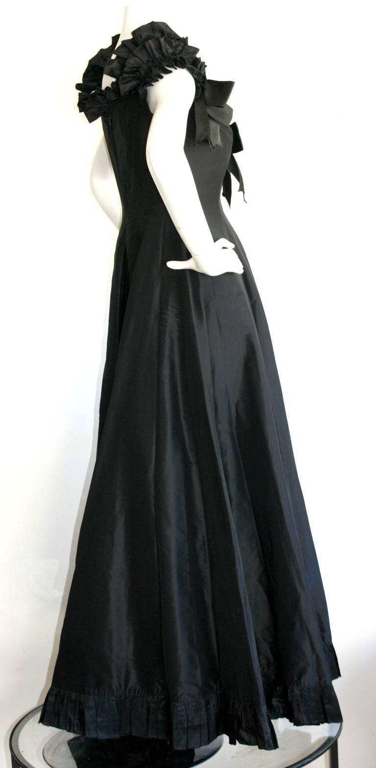 Gorgeous Vintage Oscar de la Renta Off-Shoulder Black Ball Gown For ...