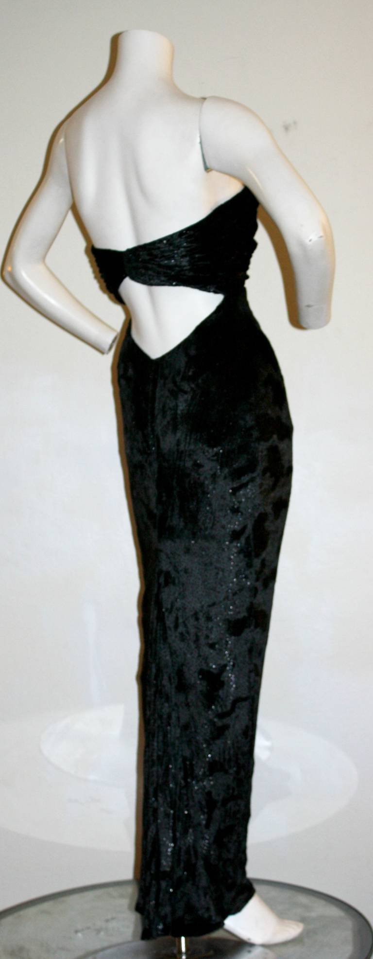 Sexy Vicky Tiel Vintage Gown Black Crushed Sparkle Velvet w/ Open Back 4