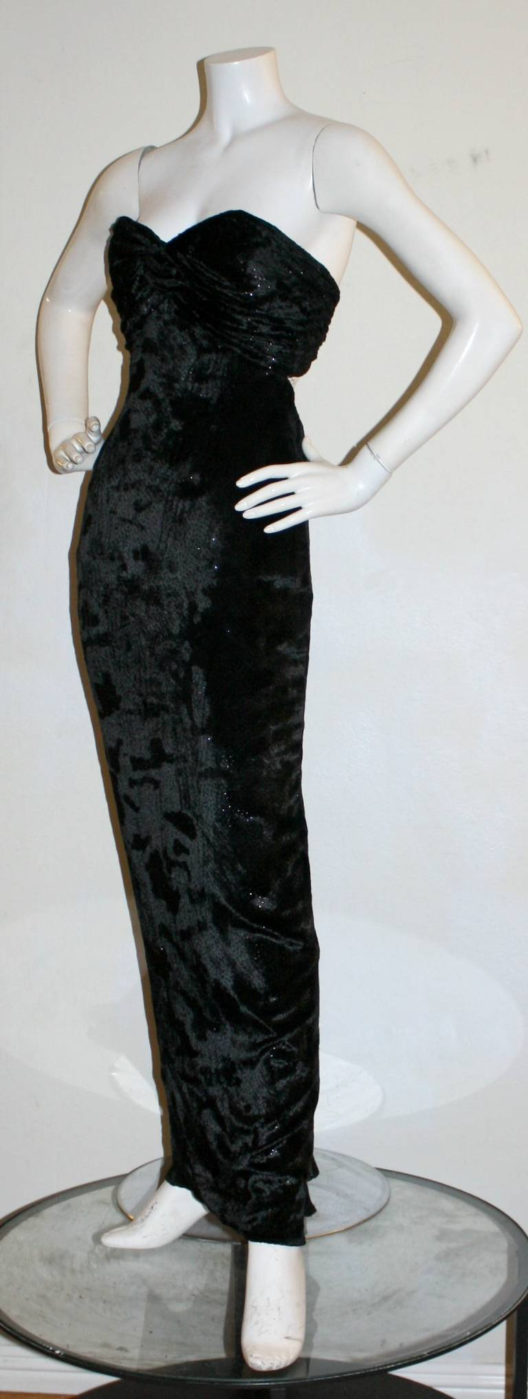 Sexy Vicky Tiel Vintage Gown Black Crushed Sparkle Velvet w/ Open Back 3