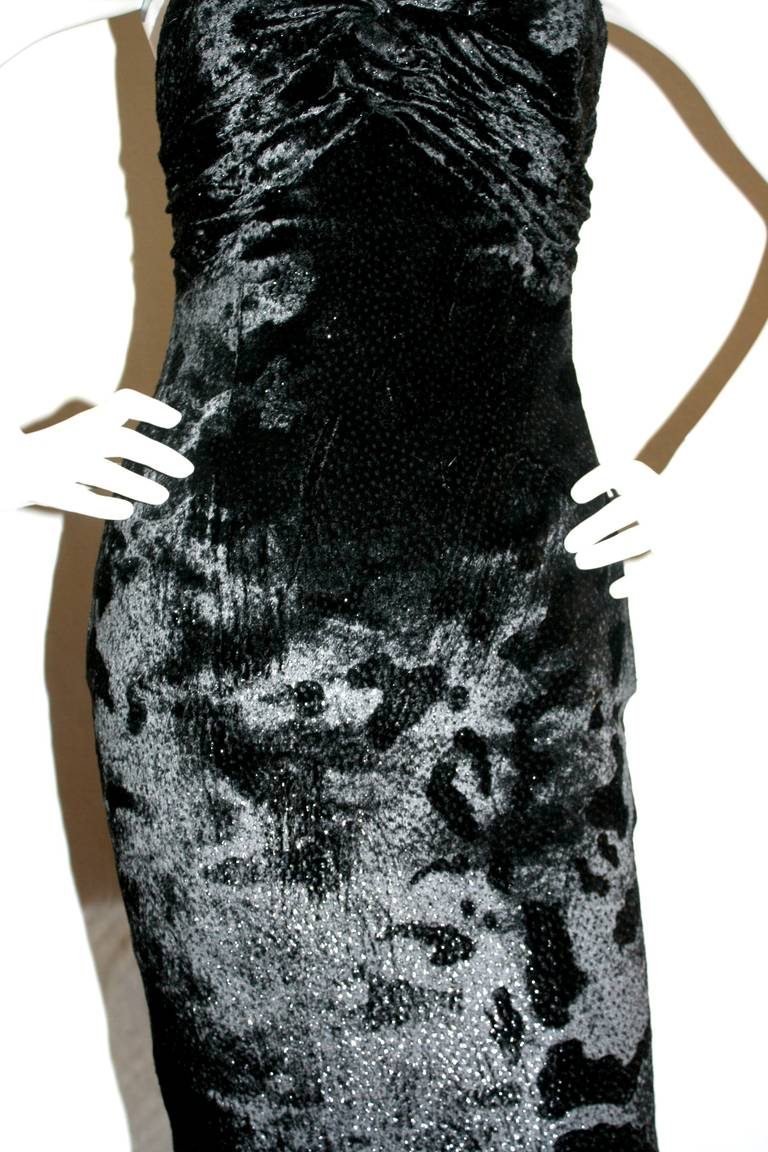 Sexy Vicky Tiel Vintage Gown Black Crushed Sparkle Velvet w/ Open Back 5