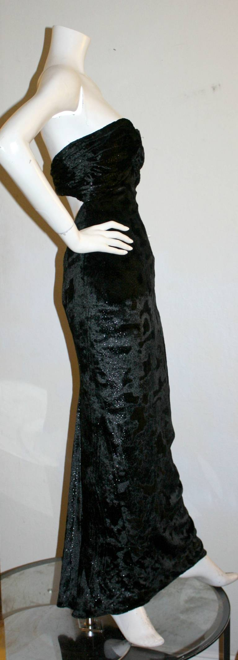 Sexy Vicky Tiel Vintage Gown Black Crushed Sparkle Velvet w/ Open Back 6