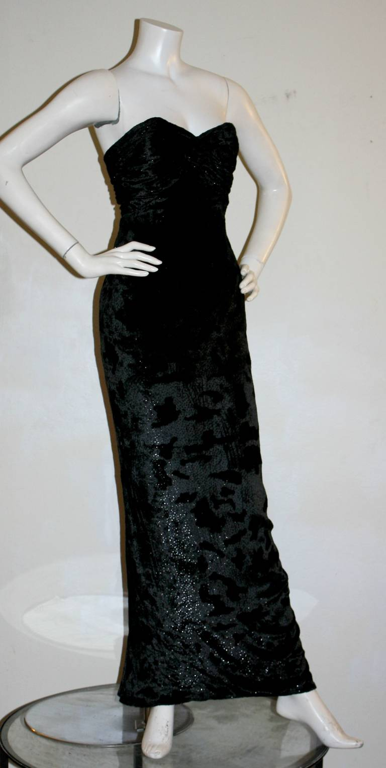 Sexy Vicky Tiel Vintage Gown Black Crushed Sparkle Velvet w/ Open Back 7