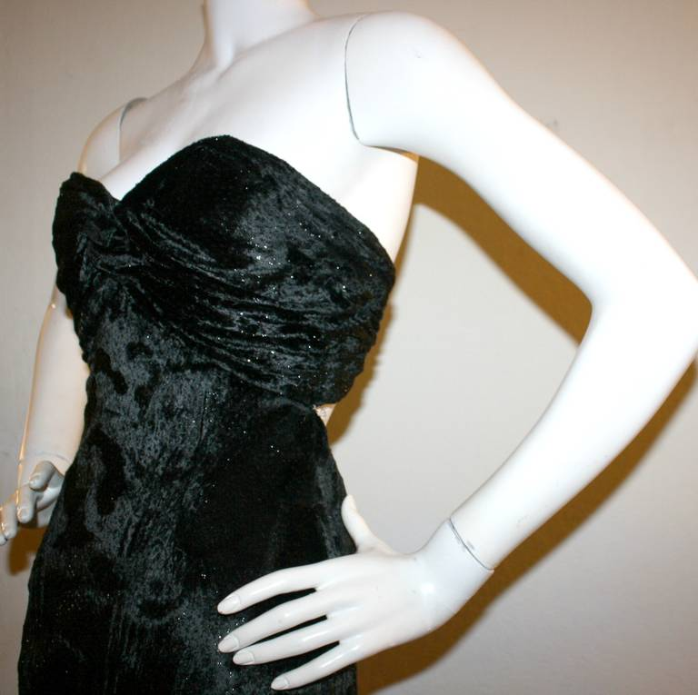 Sexy Vicky Tiel Vintage Gown Black Crushed Sparkle Velvet w/ Open Back 8