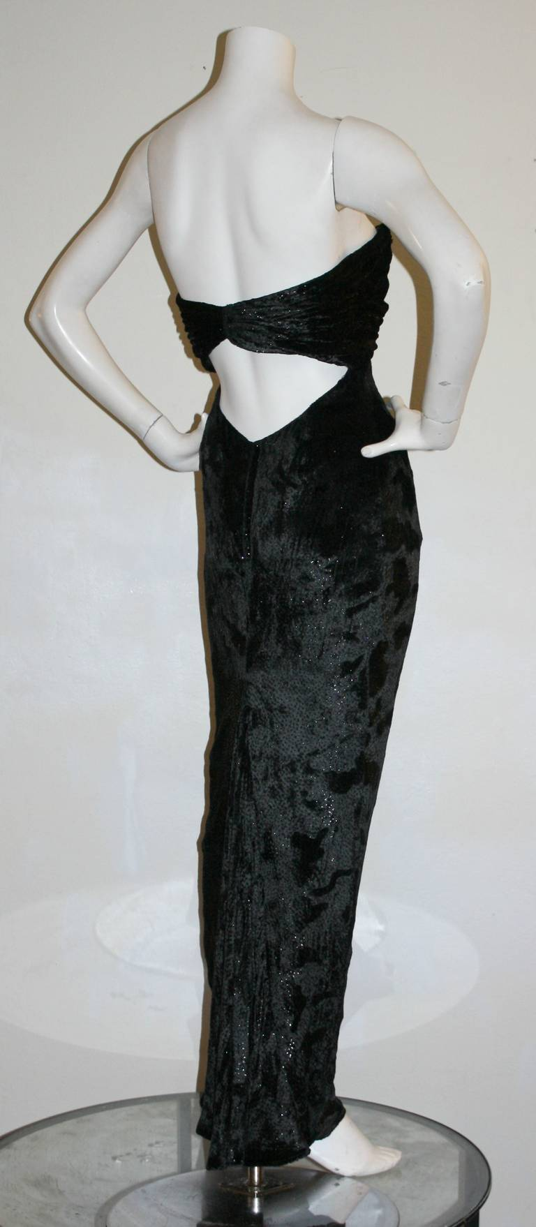 Sexy Vicky Tiel Vintage Gown Black Crushed Sparkle Velvet w/ Open Back 9