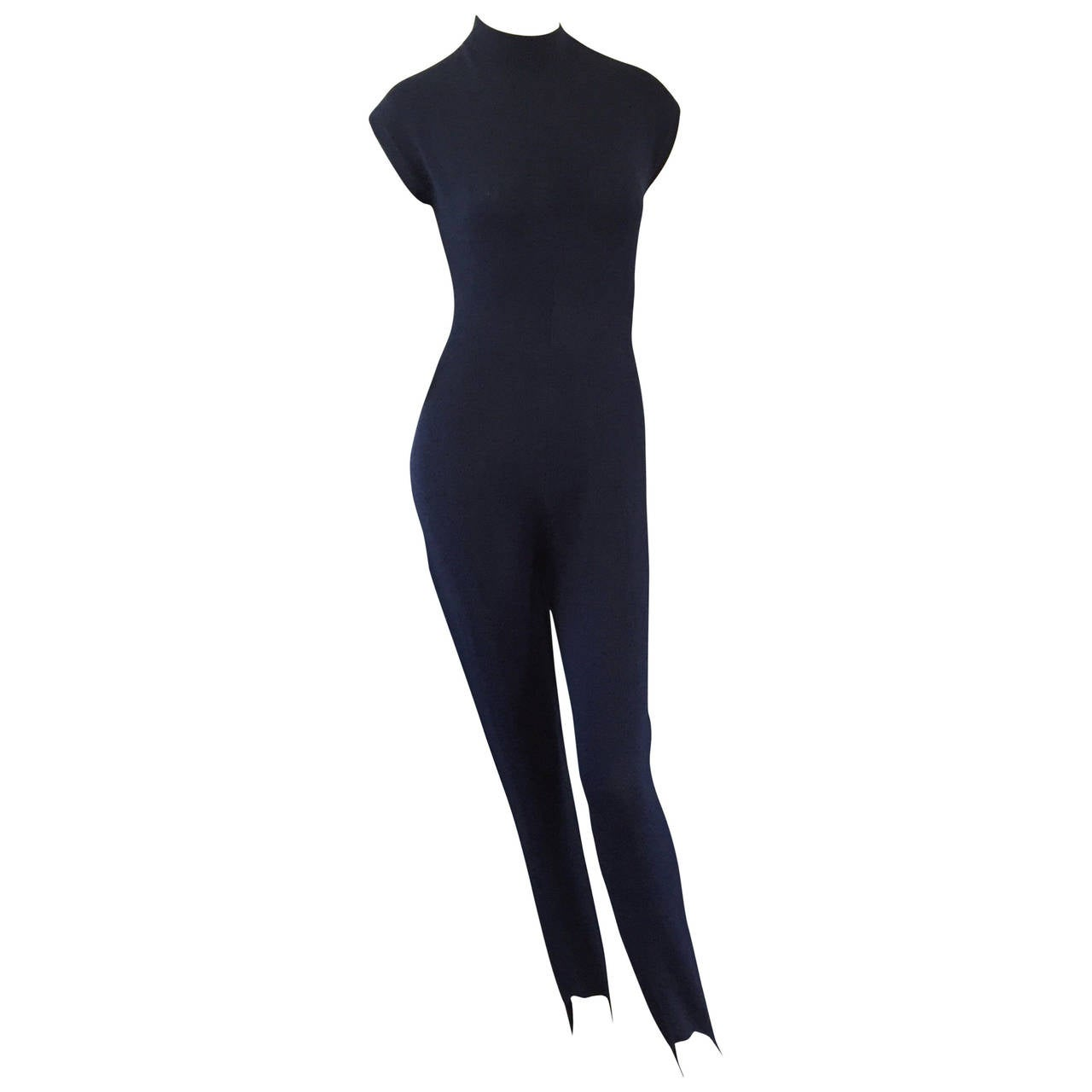Vintage St. John by Marie Gray Navy Blue Santana Knit Jumpsuit w/ Stirrup Pants