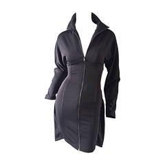 1990s Calugi E. Giannelli Avant Garde Grey BodyCon Dress w/ Cape Detail