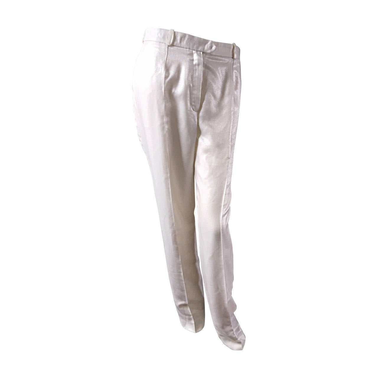 Christian Dior by Galliano Ivory Metallic ' Le Smoking ' Shimmer Trouser Pants