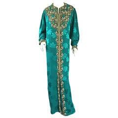 Haute Couture Vintage Ethnic Caftan w/ Intricate Beading + Rhinestones Museum