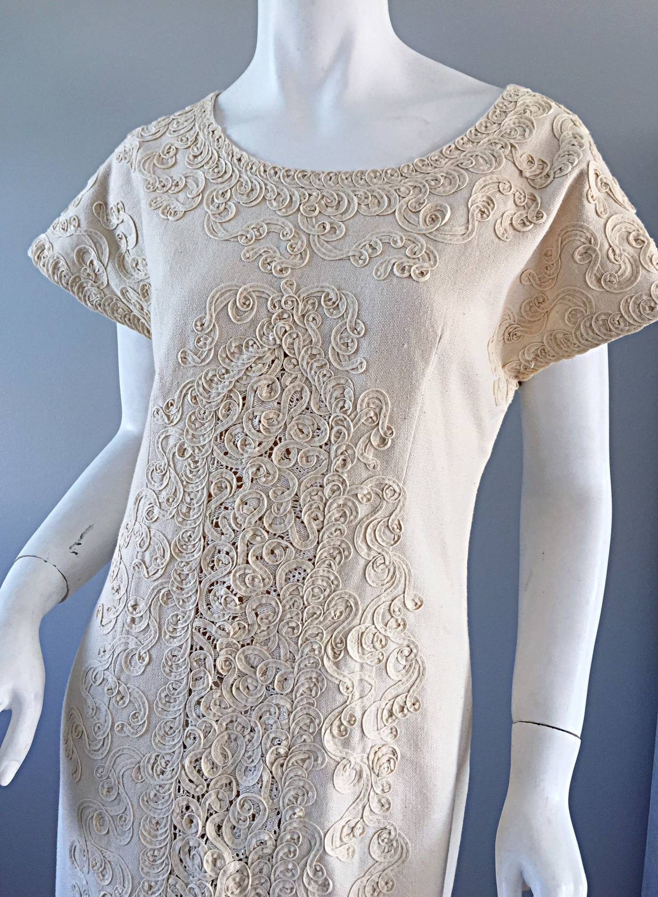id v mexican wedding dress Vintage Tachi Castillo Ivory Hand Embroidered Cotton Mexican Wedding Dress 2
