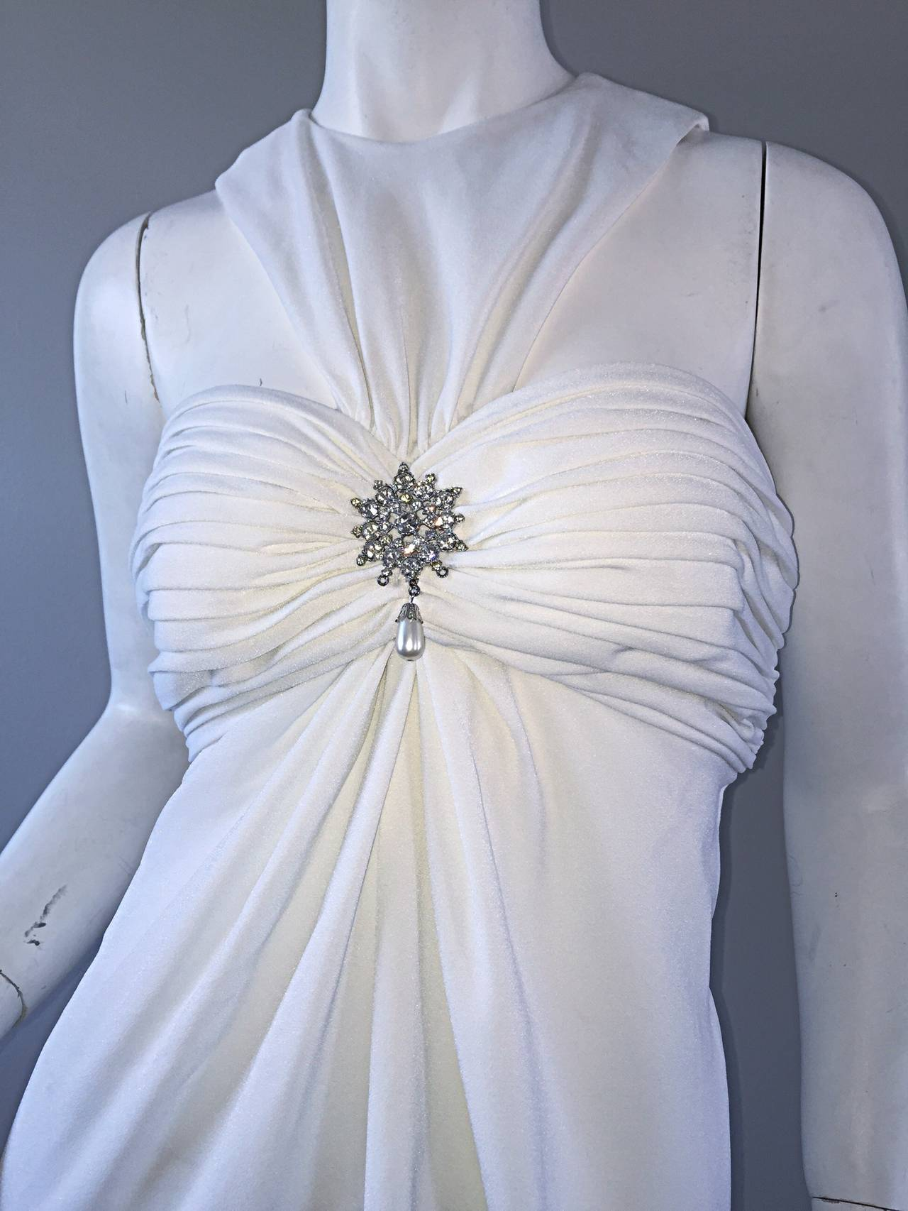 Gray 1990s Vintage Tadashi Shoji White 90s Grecian Dress w/ Rhinestones + Pearl For Sale