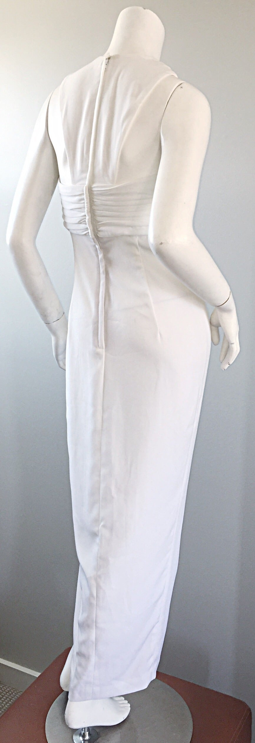 Women's 1990s Vintage Tadashi Shoji White 90s Grecian Dress w/ Rhinestones + Pearl For Sale