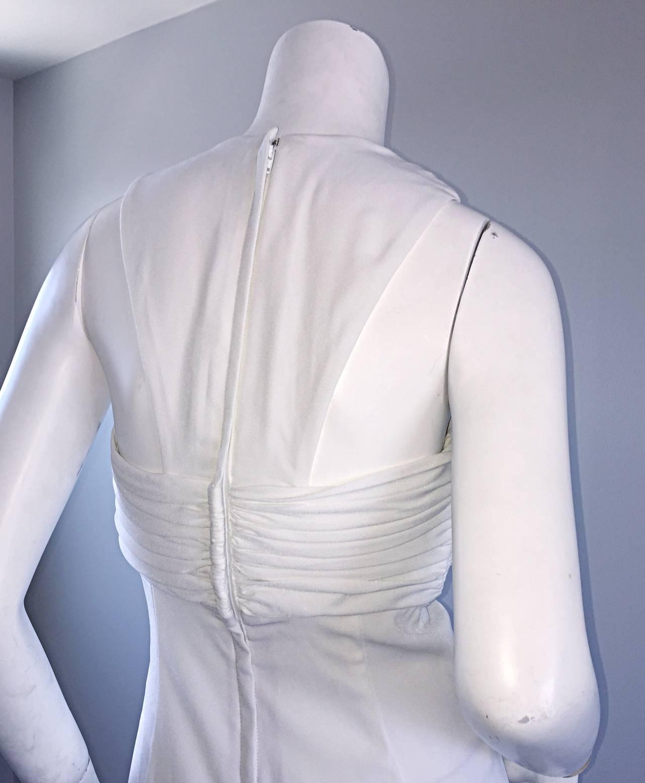 1990s Vintage Tadashi Shoji White 90s Grecian Dress w/ Rhinestones + Pearl For Sale 1
