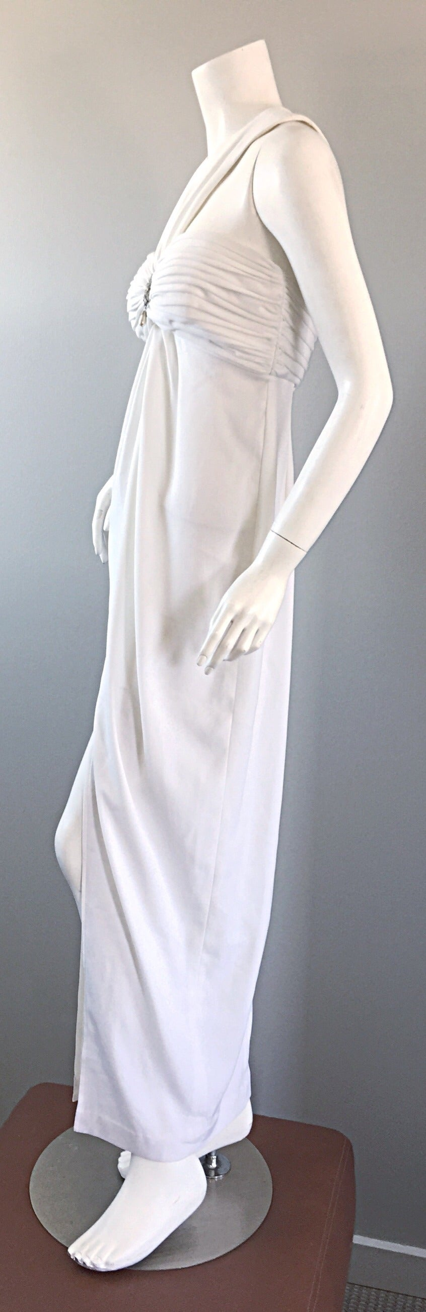 1990s Vintage Tadashi Shoji White 90s Grecian Dress w/ Rhinestones + Pearl For Sale 2