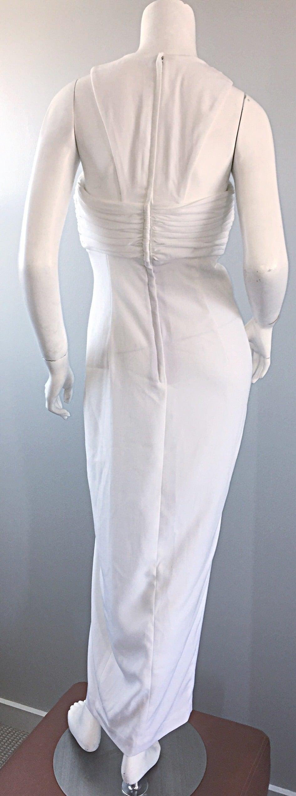 1990s Vintage Tadashi Shoji White 90s Grecian Dress w/ Rhinestones + Pearl For Sale 3