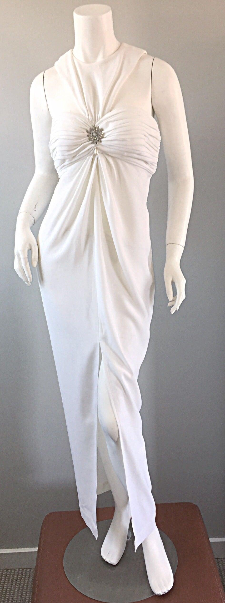 1990s Vintage Tadashi Shoji White 90s Grecian Dress w/ Rhinestones + Pearl For Sale 4