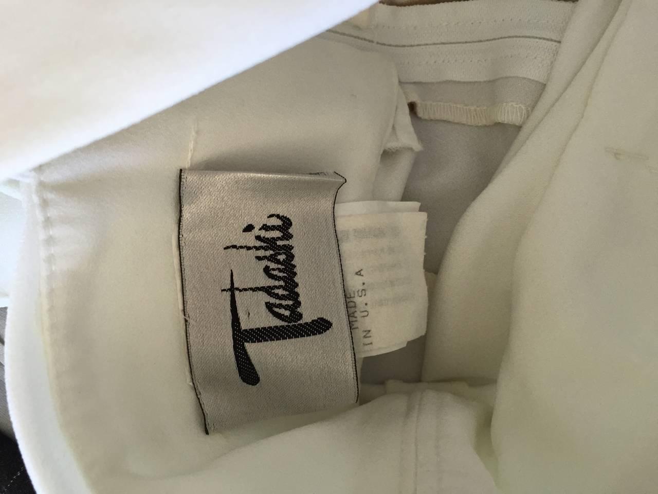 1990s Vintage Tadashi Shoji White 90s Grecian Dress w/ Rhinestones + Pearl For Sale 5