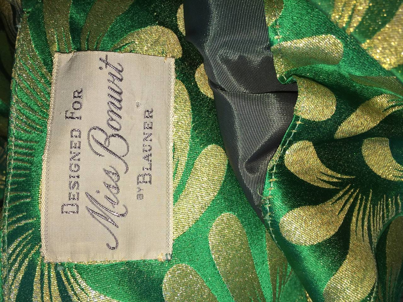 1950s 50s Vintage Blauner for Bonwit Teller Green + Gold ' New Look ' Silk Dress 10