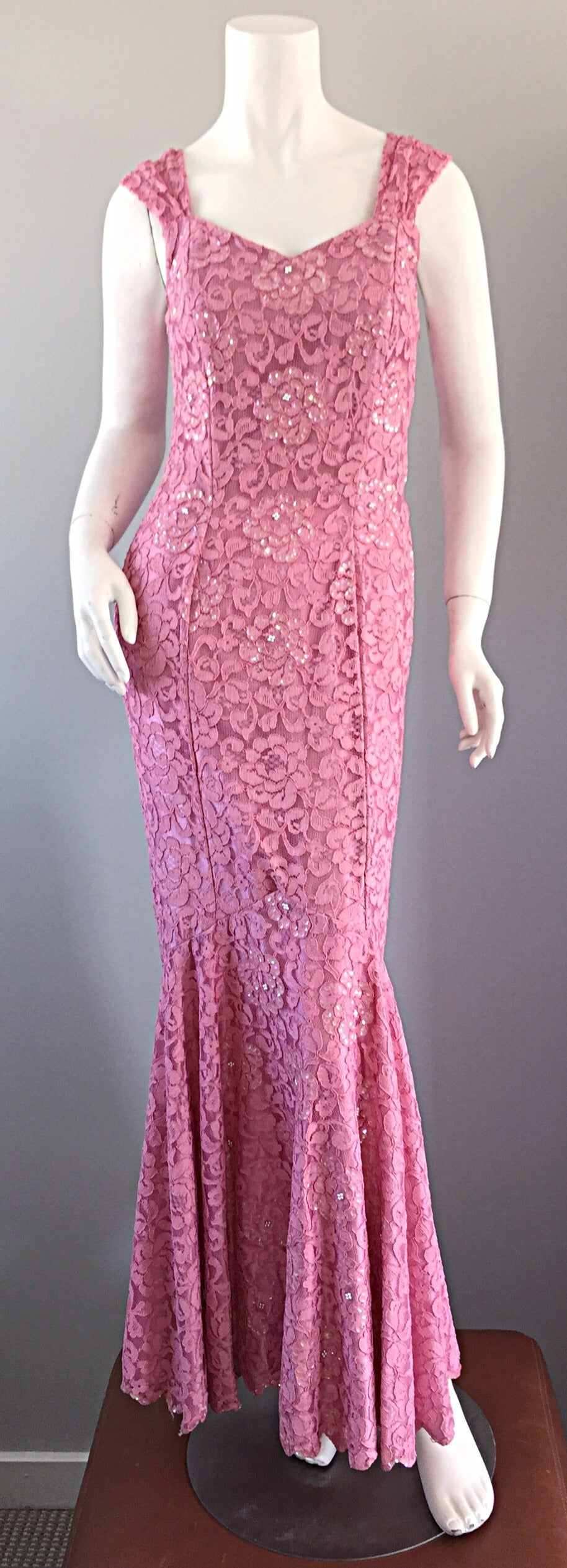 Gorgeous 1950s 50s Couture Pink Vintage Mermaid Dress w/ Chantilly Lace + Sequin 2