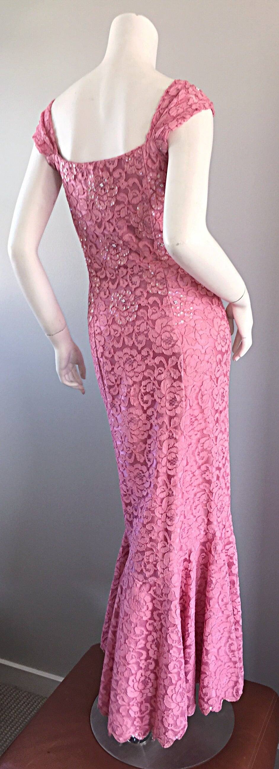 Gorgeous 1950s 50s Couture Pink Vintage Mermaid Dress w/ Chantilly Lace + Sequin 4