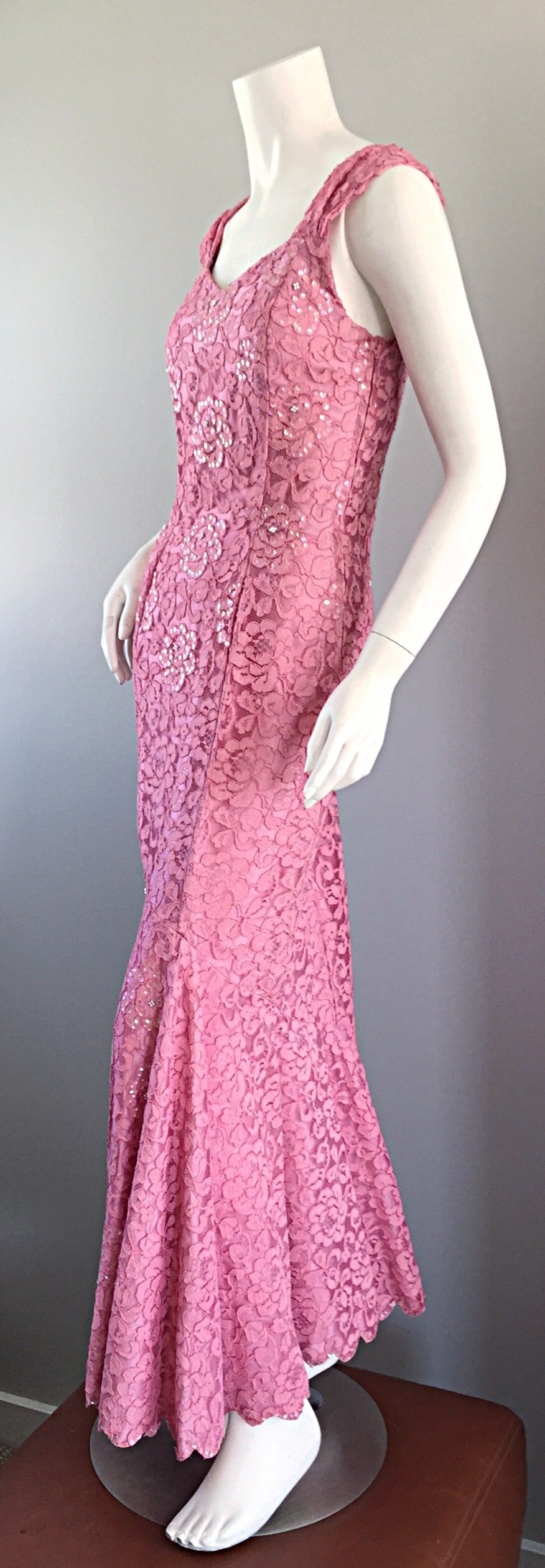 Gorgeous 1950s 50s Couture Pink Vintage Mermaid Dress w/ Chantilly Lace + Sequin 6