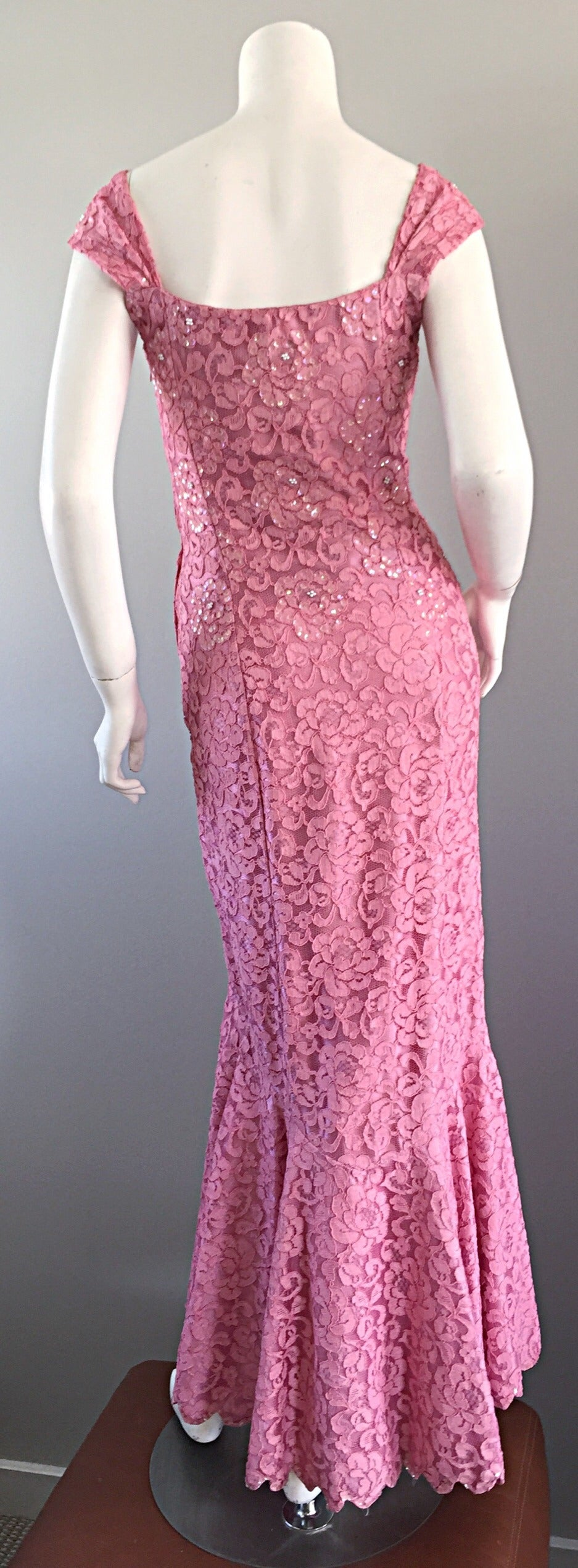 Gorgeous 1950s 50s Couture Pink Vintage Mermaid Dress w/ Chantilly Lace + Sequin 7