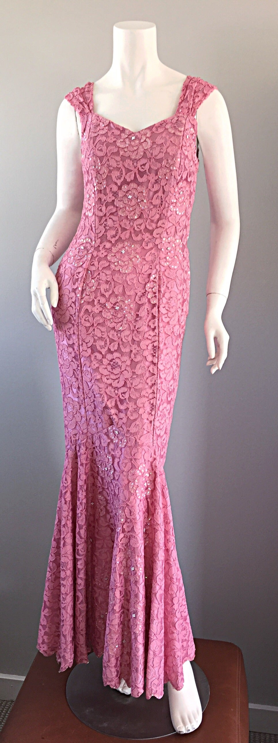 Gorgeous 1950s 50s Couture Pink Vintage Mermaid Dress w/ Chantilly Lace + Sequin 9