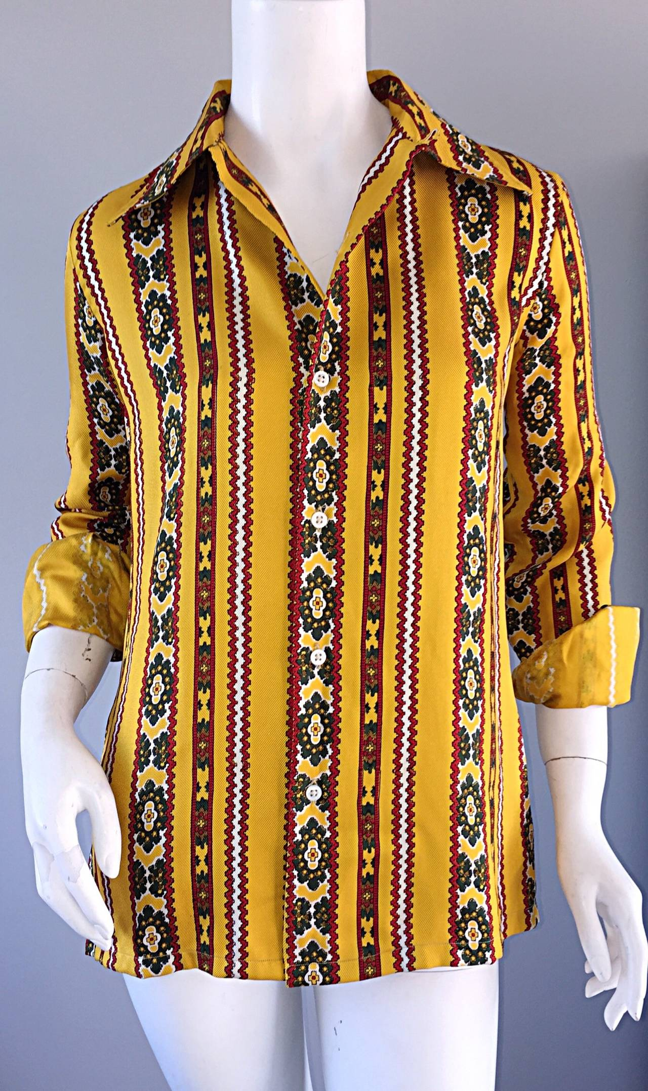 Rare 1980s Ralph Lauren ' Blue Label ' Vintage Aztec Ethnic Silk Blouse Top For Sale 1