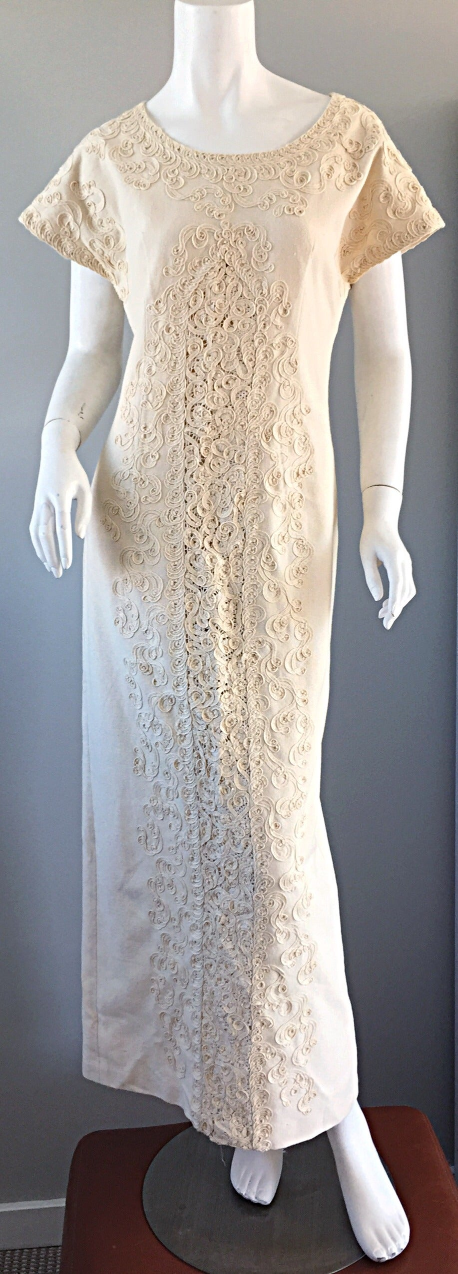 Vintage Tachi Castillo Ivory Hand - Embroidered Cotton Mexican ...