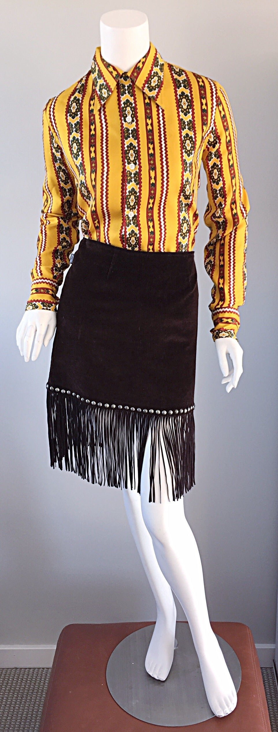 Vintage Moschino Brown Cotton Corduroy Studded 1990s 90s Fringe Mini Skirt 2