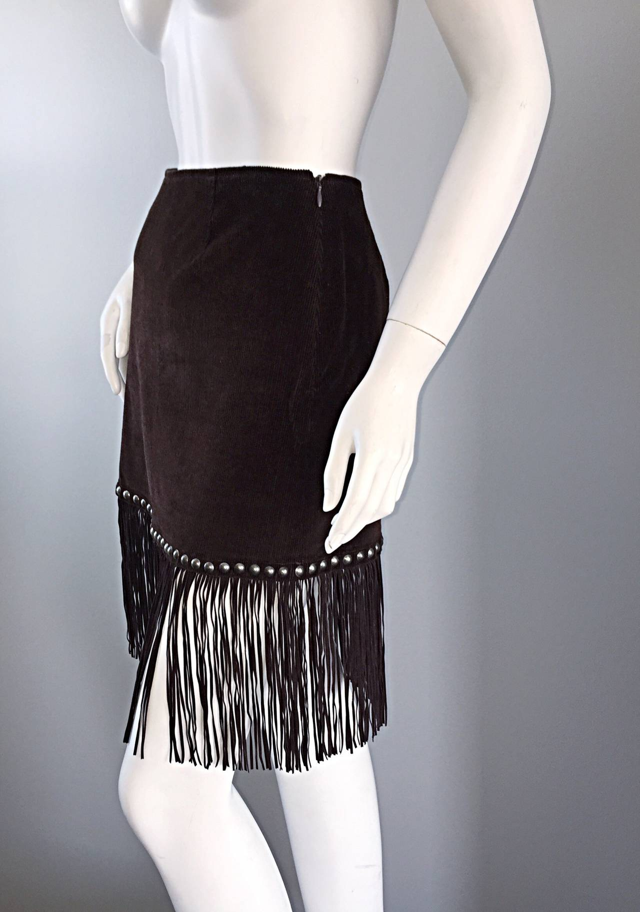 Vintage Moschino Brown Cotton Corduroy Studded 1990s 90s Fringe Mini Skirt 3