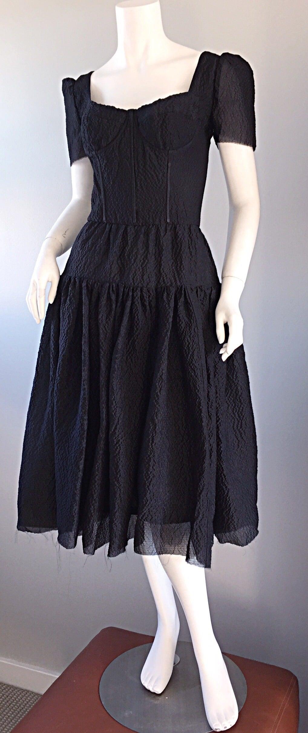 Women's New Dolce & Gabbana Black Silk Bustier Runway Dress from