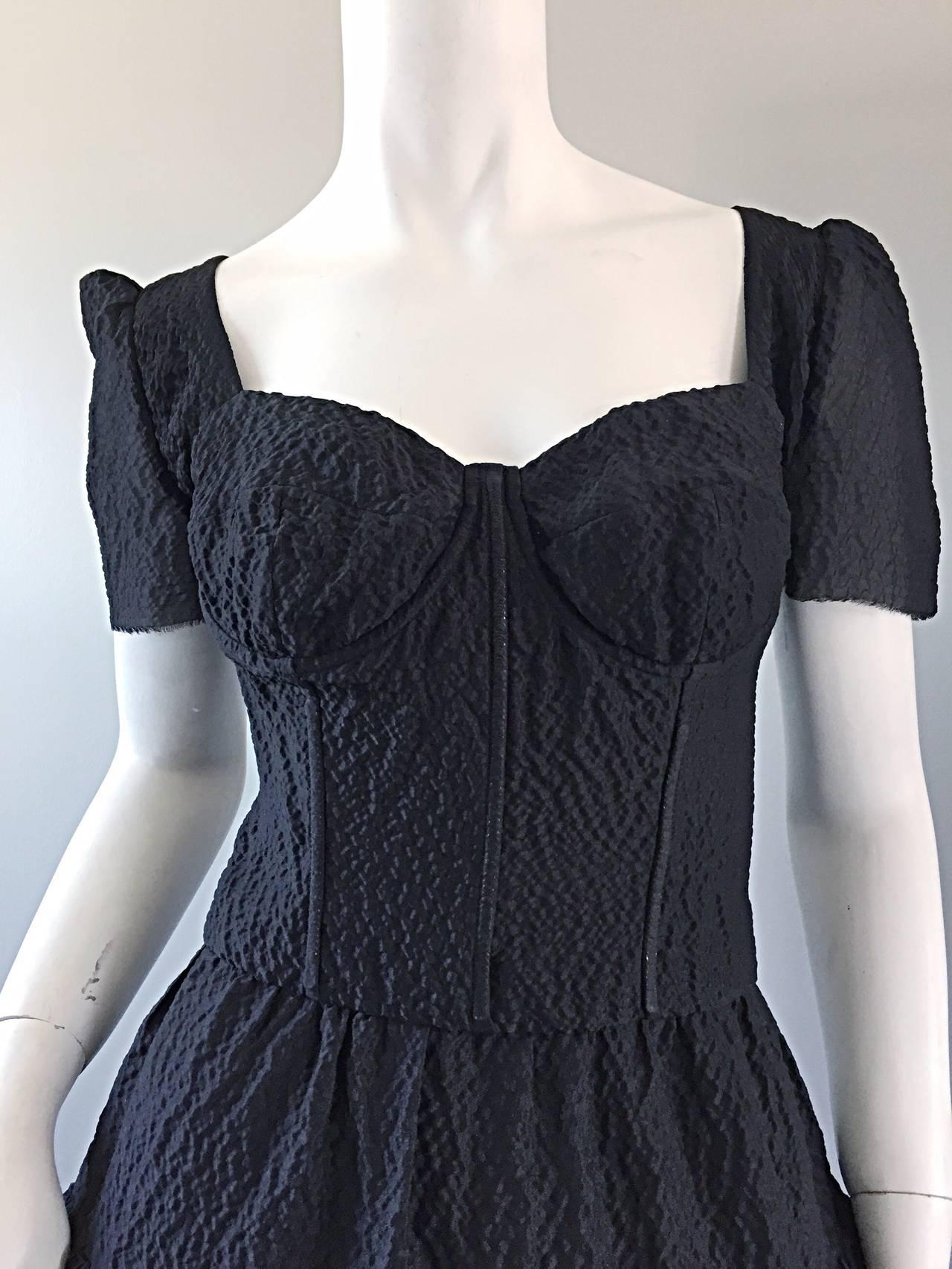 New Dolce And Gabbana Black Silk Bustier Runway Dress From