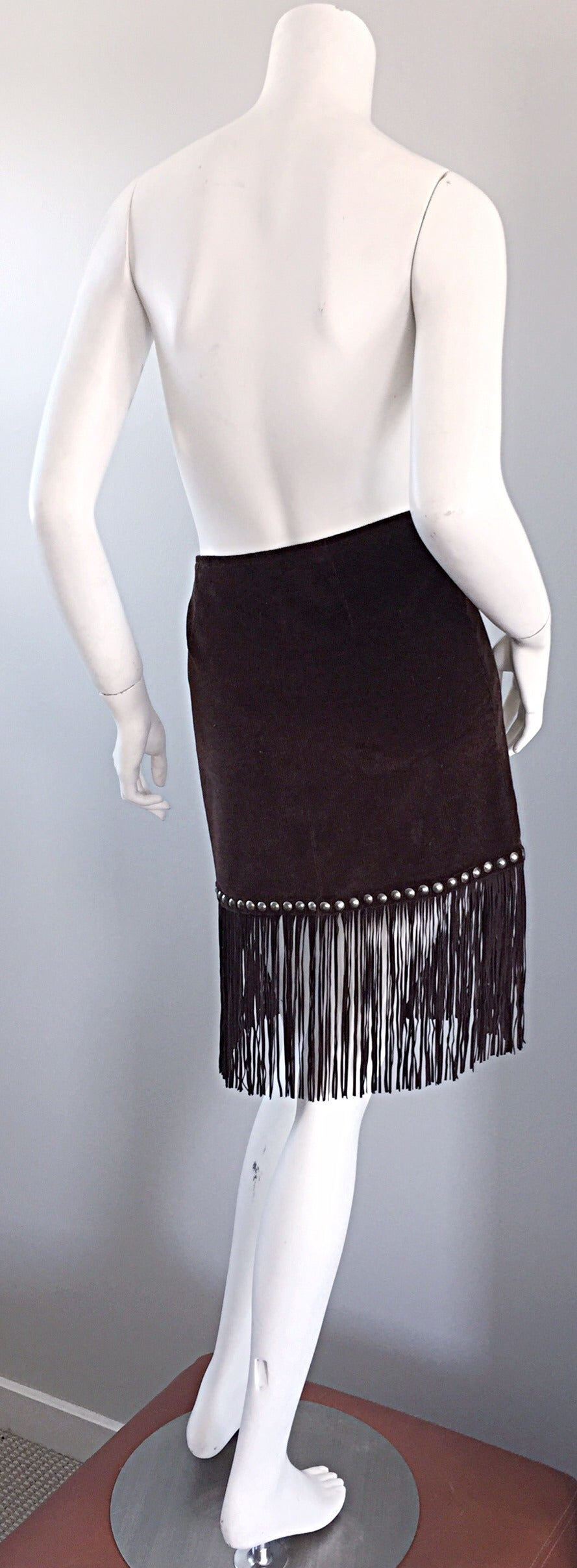 Vintage Moschino Brown Cotton Corduroy Studded 1990s 90s Fringe Mini Skirt 4