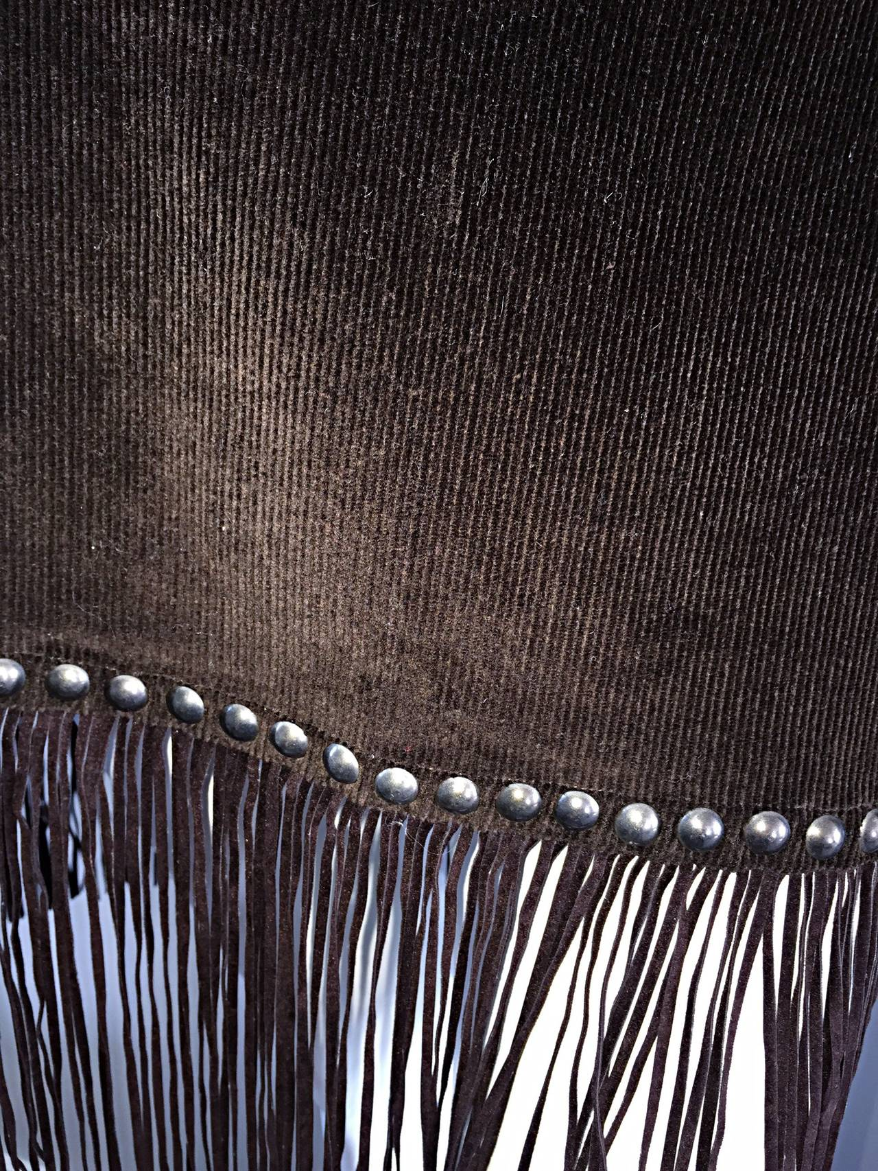 Vintage Moschino Brown Cotton Corduroy Studded 1990s 90s Fringe Mini Skirt 5
