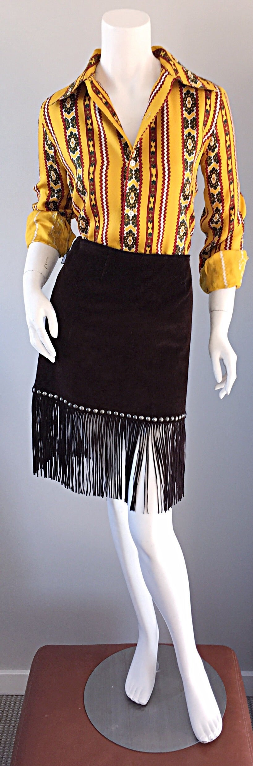 Vintage Moschino Brown Cotton Corduroy Studded 1990s 90s Fringe Mini Skirt 6