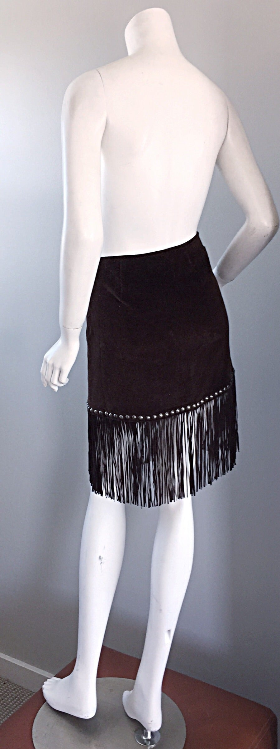 Vintage Moschino Brown Cotton Corduroy Studded 1990s 90s Fringe Mini Skirt 8