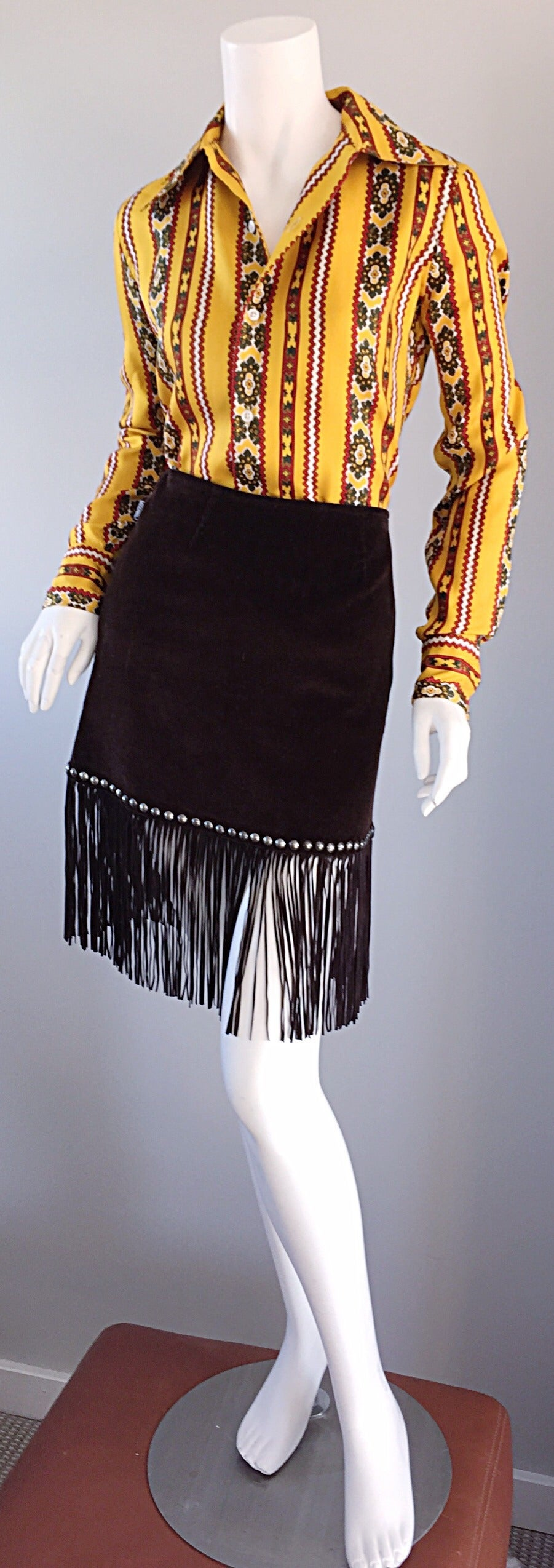 Vintage Moschino Brown Cotton Corduroy Studded 1990s 90s Fringe Mini Skirt 9