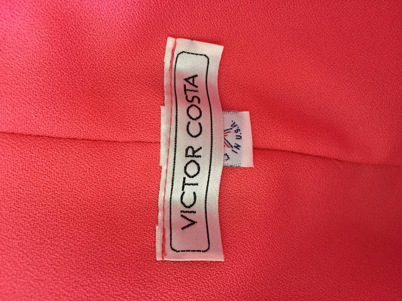 Victor Costa Coral Pink Strapless Flowy Knotted Vintage Cocktail Dress Size 8 10 For Sale 5